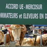 Un panneau dénonçant l'accord UE(-Mercosur au salon international de l'agriculture à Paris