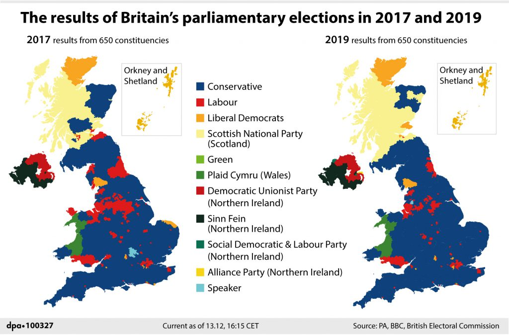 The results of Britain's parliamentary elections in 2017 and 2019